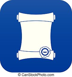 Paper scroll with wax seal icon digital blue