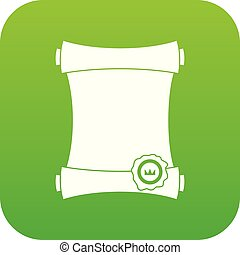 Paper scroll with wax seal icon digital green