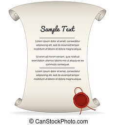 Paper Scroll with Wax Seal. Vector Graphics
