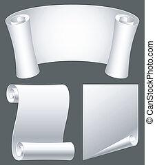 Paper scrolls. - Set of white paper scrolls.