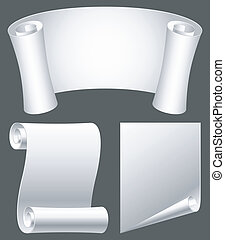 Paper scrolls. - Set of white paper scrolls.