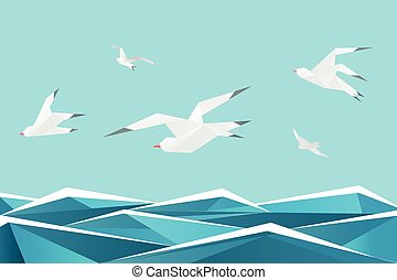 Paper sea with birds. Vector origami gulls above waves  background