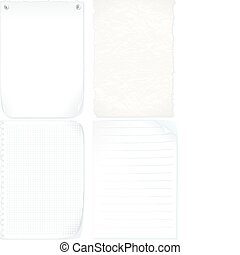 Paper - Set of paper sheets, graph paper, old paper, notepad...