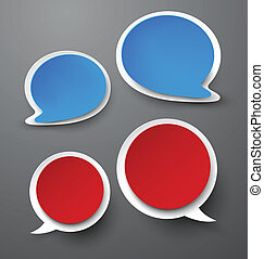 Paper set of rounded speech bubble. - Vector illustration of...