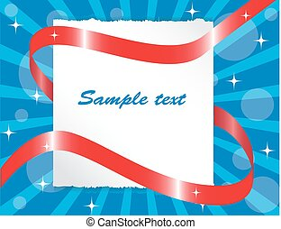 paper sheet entwined red ribbon