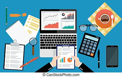 Paper sheet, hands, magnifier, paperwork, consultant,...