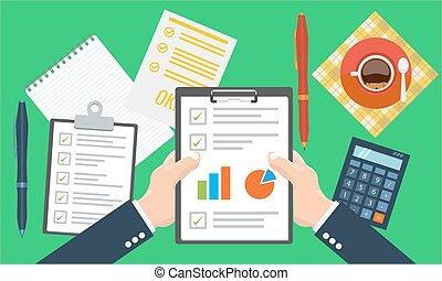 Paper sheet, hands, magnifier, paperwork, consultant, business adviser financial audit
