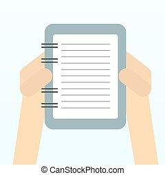 Paper sheet, hands.
