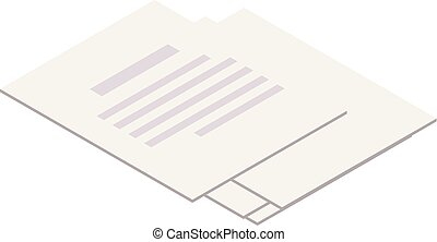 Paper sheet icon, isometric style