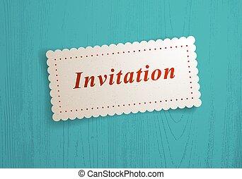 Paper sheet memo invitation word on it over wooden background vector realistic illustration, design element for message mockup.
