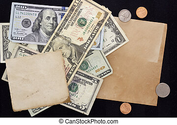 Paper sheet on background of dollars