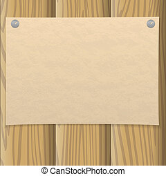 Paper sheet on wooden wall