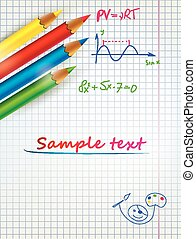 paper sheet template with the colored penciles