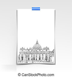 paper sheet with a picture of St. Peter's Cathedral, Rome, Vatic