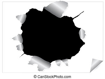 Paper sheet with black ragged hole - Abstract image of paper...