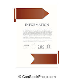 paper sheet with brown ribbon and banking icons