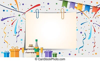 festive background - Paper sheet with clips on a festive ...
