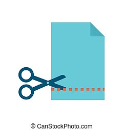 paper sheet with scissors cutting