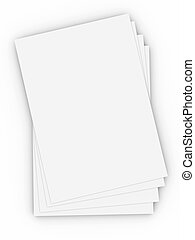 Paper Sheets - 3D Illustration. Isolated on white.