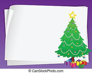 illustration of paper sheets ans chritmas tree