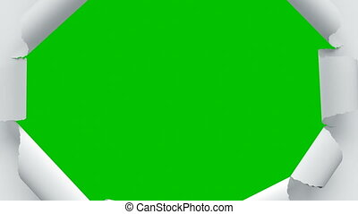 Paper Sheets Tearing from Center Opening the Screen Transition. Four Videos in One. Beautiful 3d Animation of Abstract Paper Breaking Through on Green Screen Alpha Mask. 4k Ultra HD 3840x2160.