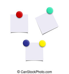 Paper sheets with color magnets. Vector realistic isolated design elements.