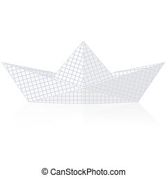 Paper ship origami isolated on white background.
