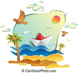 Paper ship swimming in sea waves with beautiful beach and palms, origami folded toy boat floating in the ocean with beautiful scenic seascape with birds and clouds in the sky, vector.