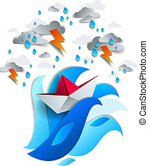 Paper ship swimming in storm with lightning, origami folded toy boat fights for survival in the ocean in thunderstorm and rainy weather, vector illustration.