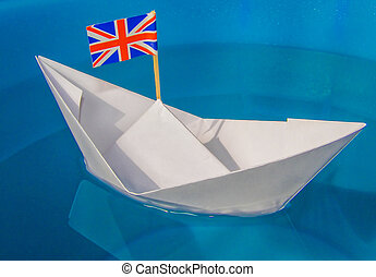Paper ship with UK Flag