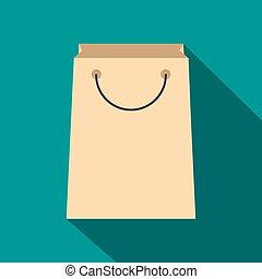 Paper shopping bag flat icon