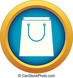 Paper shopping bag icon blue vector isolated