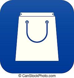 Paper shopping bag icon digital blue