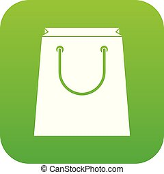 Paper shopping bag icon digital green