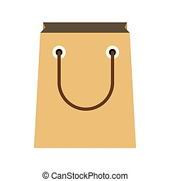Paper shopping bag icon, flat style