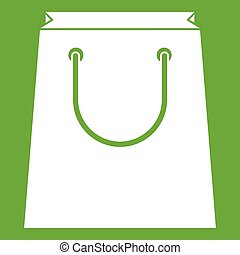 Paper shopping bag icon green