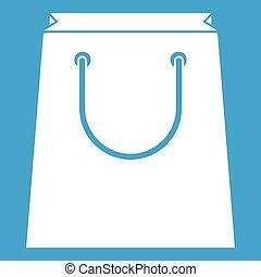 Paper shopping bag icon white