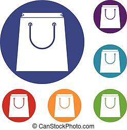 Paper shopping bag icons set