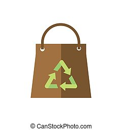 paper shopping bag recycle green energy icon