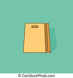 Paper shopping bag vector icon isolated