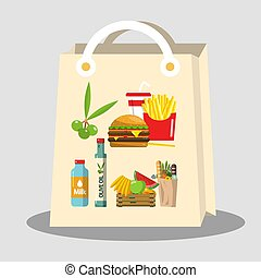 Paper Shopping Bag with Food Items