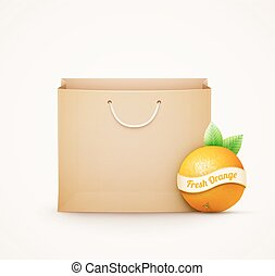 Paper shopping bag with orange