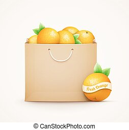 Paper shopping bag with oranges