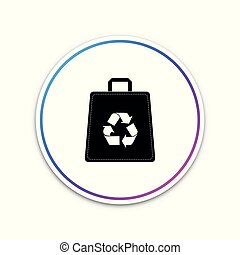 Paper shopping bag with recycle symbol icon isolated on white background. Circle white button. Vector Illustration