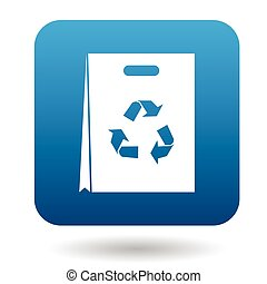 Paper shopping bag with recycling symbol icon