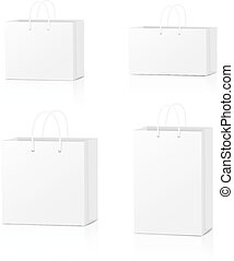 Paper Shopping Bags collection isolated on white background. Vector illustration