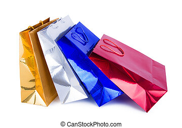 Paper shopping bags - Colourful paper shopping bags isolated...