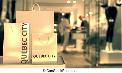 Shopping bags with flag against blurred store. Shopping related clip
