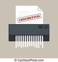 paper shredder confidential icon and private document office...