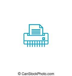 Paper shredder linear icon concept. Paper shredder line vector sign, symbol, illustration.